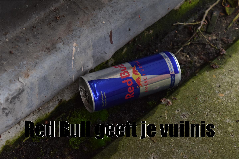 Red Bull geeft je vuilnis